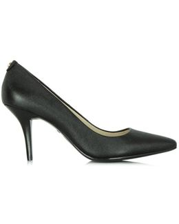 Flex Mid Black Leather Pointed Pump