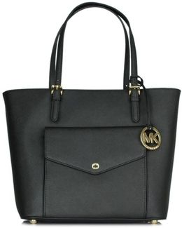 Jetset Large Pocket Black Leather Multifunctional Tote Co