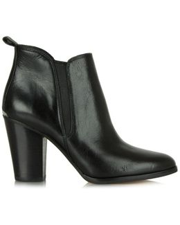 Brandy Black Leather Block Heel Chelsea Boot