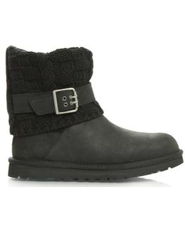 Ugg Australia Cassidee Black Suede Cotton Cable Knit Collar Ankle Bo