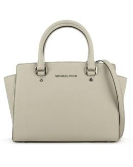 Selma Medium Cement Leather Top Zip Satchel Bag