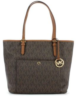 Jet Set Large Brown Leather Logo Tote Bag