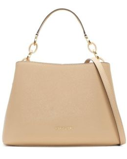 Portia Large Oyster Saffiano Leather Shoulder Bag
