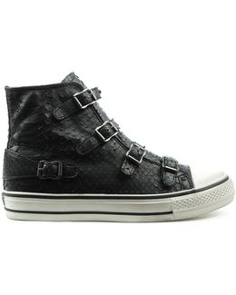 Virgin Bis Black Reptile Leather High Top Trainer