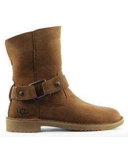 Ugg Australia Cedric Chestnut Leather Twinface Cuffed Ankle Boot Siz