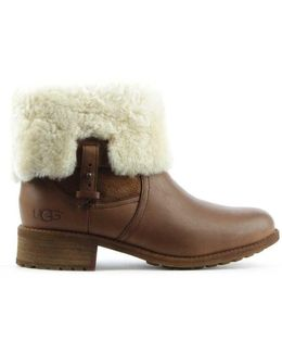 Ugg Australia Chyler Chocolate Leather Cuffed Ankle Boot