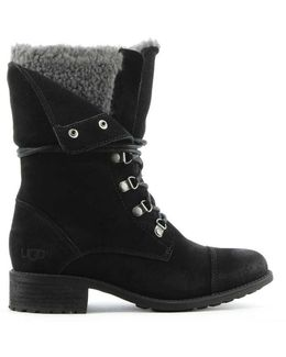 Ugg Australia Gradin Black Leather Cuffed Lace Up Ankle Boot