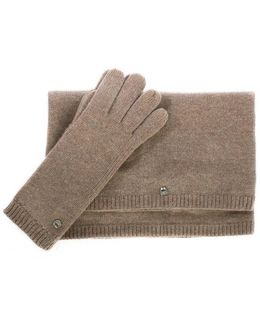 Ugg Australia Luxe Stormy Grey Heather Matching Scarf & Glove Set Co