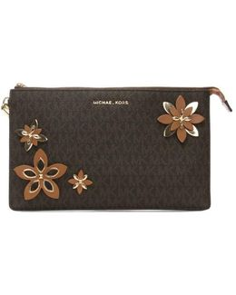 Flowers Daniela Brown Coated Canvas Wristlet Clutch Colou