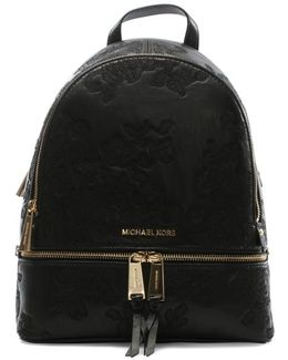 Lace Embossed Rhea Black Leather Backpack