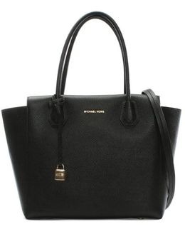 Mercer Large Black Leather Satchel Bag
