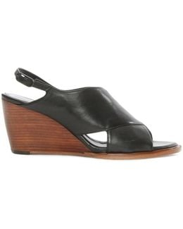 Aglenn Black Leather Sling Back Wedge Sandal
