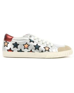 Majestic Silver Leather Star Motif Trainer