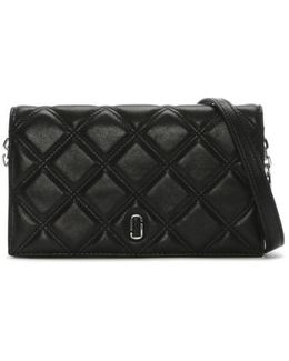 Quilted Black Leather Wallet On A Chain Strap