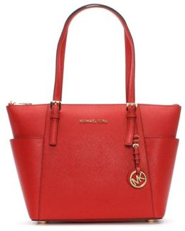 Jet Set Pocket Bright Red Leather Tote Bag