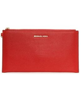 Mercer Large Bright Red Leather Clutch Bag