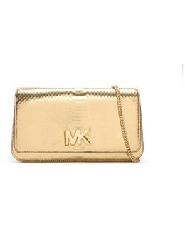 Mott Pale Gold Reptile Leather Large Clutch Bag