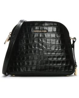 Mercer Black Moc Croc Leather Dome Messenger Bag