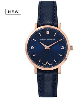 Ladies Lugano Watch Rose Gold And Navy 26mm