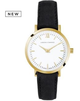 Ladies Lugano Classic Watch Gold And Black 26mm