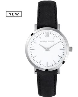 Ladies Lugano Classic Watch Silver And Black 26mm