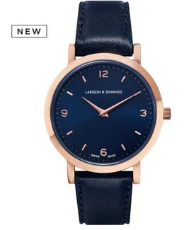 Ladies Lugano Watch Rose Gold And Navy 33mm