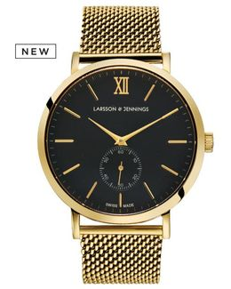 Saxon 39mm Automatic Gold And Black 3 Link Designer Watch.