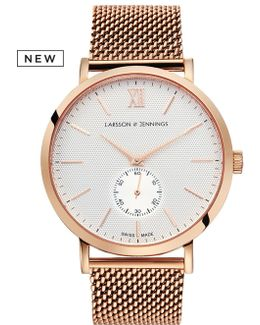 Lugano 40mm Mechanical Rose Gold And White Designer Watch.