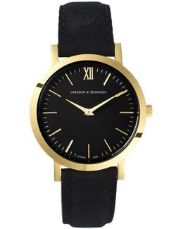 Ladies Lugano Watch Black And Gold 33mm