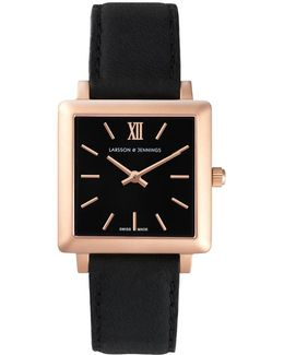 Norse 27x34mm Black And Rose Gold Square Watch