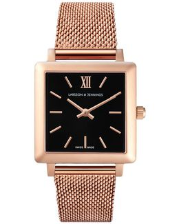 Ladies Norse Chain Watch Rose Gold And Black 34mm