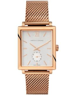 Norse 42mm Mechanical Rose Gold And White Designer Watch.