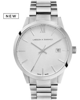 Saxon 39mm Automatic Silver And White 3 Link Designer Watch.