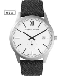 Exclusive Black Saxon 39mm Watch, With Wool Strap Watch.
