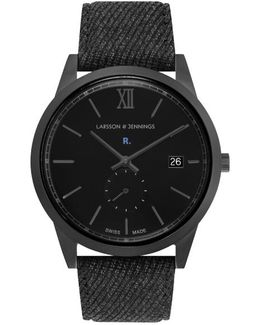 Exclusive Black Saxon 39mm Watch, With Wool Strap Watch In Collaboration With New York Based Brand Rochambeau.