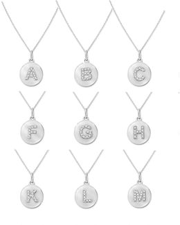 14k White Gold Diamond Disc Initial Necklace