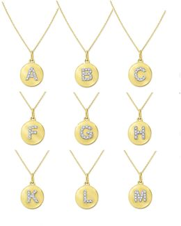 14k Yellow Gold Diamond Disc Initial Necklace