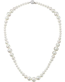 Mixed-size Pearl & Cz Necklace