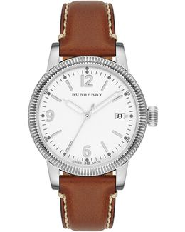 Stainless Steel & Leather Check-dial Watch
