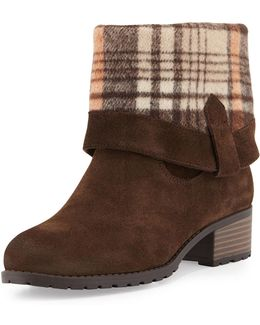 June Flannel-cuff Suede Bootie