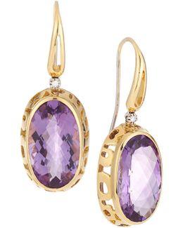 Mauresque 18k Rose Gold Amethyst & Diamond Drop Earrings