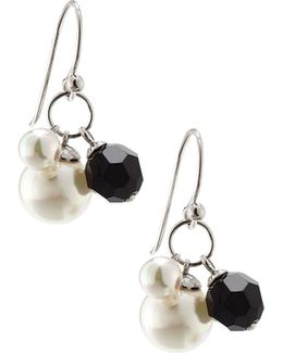 Sterling Silver Pearl & Crystal Bead Drop Earrings