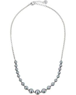 Gray Pearl & Chain Necklace