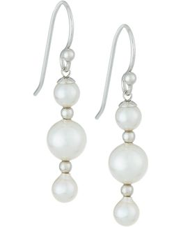 Triple-pearl Linear Drop Earrings