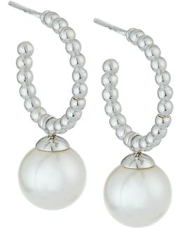 White Pearl Hoop Drop Earrings