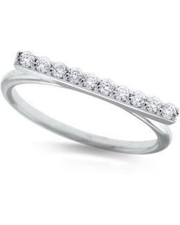 14k White Gold Diamond Bar Stacking Ring