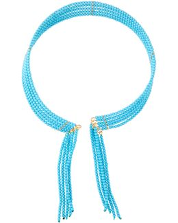 Seed Bead Fringed Choker Necklace