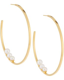 Large 24k Gold-dipped Tre Pearl Hoop Earrings