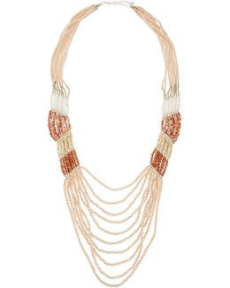 Long Multi-strand Pastel Crystal & Stone Necklace.