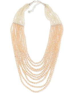 Multi-strand Pastel Crystal-beaded Necklace